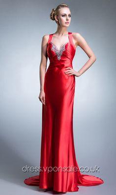 Red Long Sweep Train Prom Dress DVP0028   $155.60