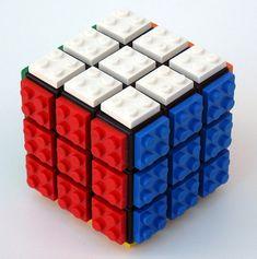 Rubik's Cube + Lego, red-white-blue