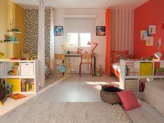 L'aménagement : L'implantation de cette chambre permet de diviser la surface en deux dans la longueur de façon symétrique. Ici, il y a égalité totale, un aménagement idéal pour éviter les ... #maisonAPart