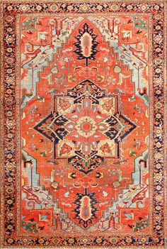 Large Geometric Antique Persian Heriz Serapi Rug 48850