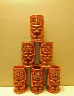 Tiki Leilani Cocktail Set Barware Tumbler Mug by MDMvintage #vintage #hawaiian
