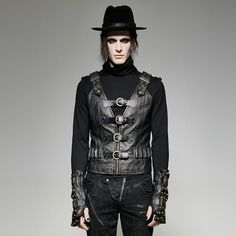 Punk rave #men's gothic steampunk military fetish #cosplay industrial #black vest,  View more on the LINK: 	http://www.zeppy.io/product/gb/2/182378979996/