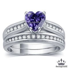 Princess Kylie 925 Sterling Silver Simulated Ruby Cubic Zirconia Heart Design Swirl Ring