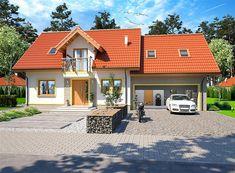 Projekt domu z poddaszem Ajaks Bis G2 o pow. 127,26 m2 z obszernym garażem, z dachem dwuspadowym, z tarasem, sprawdź! Home Fashion, 1, Cabin, Mansions, House Styles, Outdoor Decor, Home Decor, Decoration Home, Manor Houses