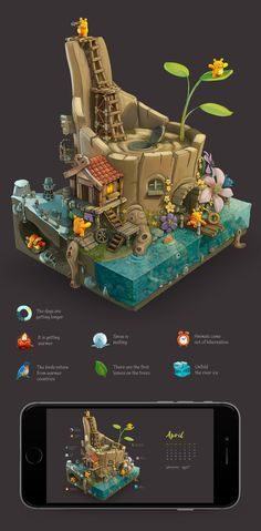 iOS Game & Illustrations on Behance Game Design, Bg Design, Game Environment, Environment Concept, Environment Design, Isometric Art, Game Props, Building Concept, Modelos 3d