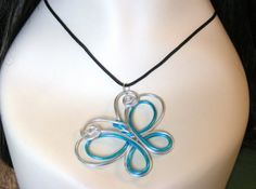 Double Butterfly Wire Necklace - Choose your own Color via Etsy