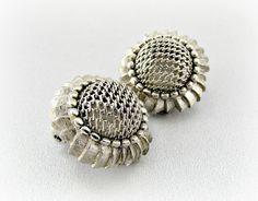 Vintage Sunflower Earrings, Silver Flower Earrings, Clip-on Earrings, Summer Autumn Earrings, 1950s 1960s Art Nouveau Costume Jewelry by RedGarnetVintage, $15.00