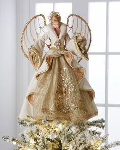 Shop Gilded Angel Heirloom Statue from Christopher Radko at Horchow, where you'll find new lower shipping on hundreds of home furnishings and gifts. Angel Christmas Tree Topper, Christmas Tree Tops, Christmas Cards To Make, Christmas Makes, Christmas Angels, Xmas Tree, Beautiful Christmas, Christmas Crafts, Christmas Decorations