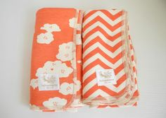 Organic baby blanket, poppy coral, swaddle large, baby shower gift