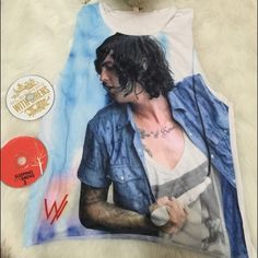 nwot sleeping with sirens graphic muscle tee nwot sleeping with sirens muscle tee. brand new, never worn. if you're any SWS fan, or in love with Kellin Quinn; you'll die for this tee 😊 Hot Topic Tops Muscle Tees