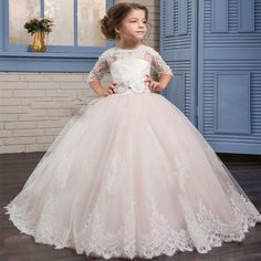 Cheap girls dress, Buy Quality little girls dresses directly from China girl dresses for weddings Suppliers: 2017 bow Flower Girl Dresses for Weddings half Lace Sleeve Girls Pageant Dresses First Communion Dress Little Girls Ball Gowns Little Girl Wedding Dresses, Girls First Communion Dresses, Pink Flower Girl Dresses, Girls Pageant Dresses, Birthday Dresses, Ball Dresses, Ball Gowns, Flower Girls, Dress Girl