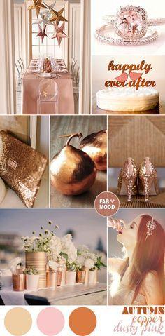 copper gold pink autumn wedding