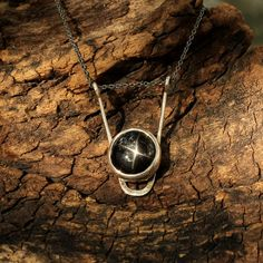 Star diopside pendant with sterling silver backing and sterling silver chain