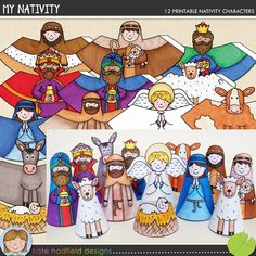 Christmas Nativity Craft: My Nativity! A fun set of 12 hand drawn pre-coloured Nativity characters for you and your students to print and create! Simply print out, glue along the edge and roll up to create your own nativity scene! Christian Christmas Crafts, Christian Crafts, Christmas Crafts For Kids, Christmas Activities, Xmas Crafts, Christmas Printables, Nativity Crafts, Christmas Nativity, Noel Christmas