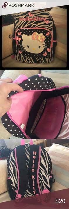 """Hello Kitty Girls backpack Adorable hello Kitty backpack in excellent condition no rips tears or stains dimensions are 16"""" deep 14"""" across Hello Kitty Bags Backpacks"""