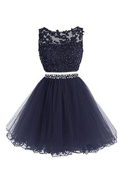 Dark blue two pieces lace short prom dress, dark blue homecoming dress