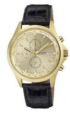 Citizen Mens AN351203P GoldTone Stainless Steel Watch with Black Leather Band *** You can get more details by clicking on the image.