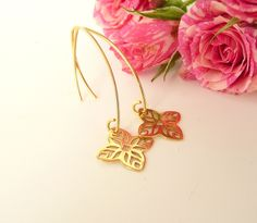 Sterling Silver Flower Earrings,  Dangle Earrings with Flowers, Gold Flower Earrings, Long Earrings, 925 silver jewelry by MONADESING on Etsy