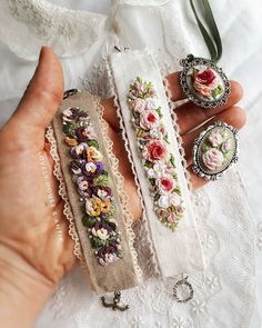 😍🌹 My little flower bed blooms.🌸 ⛔Bracelets are sold. ⛔Brooch are sold. ✔Pendant-on sale. 🖍To address in direct.📮… fabric crafts How To Make Alphabet Friendship Bracelets Fabric Bracelets, Embroidery Bracelets, Hand Embroidery Stitches, Silk Ribbon Embroidery, Embroidery Hoop Art, Hand Embroidery Designs, Fabric Jewelry, Wire Bracelets, Jewelry Making