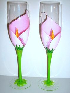 Painted Champagne Flutes Pink Calla Lily Set of 2 / 8.5 oz. Hand Painted Personalized for Wedding or Anniversary. $45.00, via Etsy.