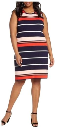 Find Eliza J Stripe Sleeveless Sweater Dress (Plus Size) online. Shop the latest collection of Eliza J Stripe Sleeveless Sweater Dress (Plus Size) from the popular stores - all in one Eliza J Dresses, Plus Size Dresses, Plus Size Womens Clothing, Clothes For Women, Dress With Jean Jacket, Long Cocktail Dress, Denim Shirt Dress, Urban Outfits, Nordstrom Dresses