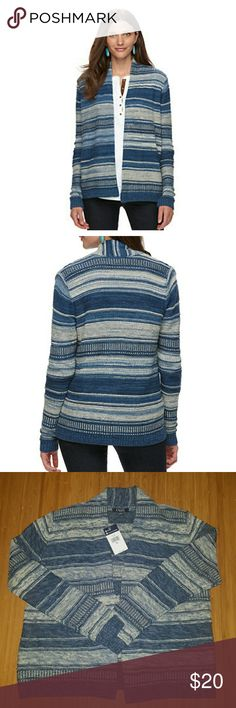Chaps Striped Open Front Cardigan Add Southwestern charm to any ensemble with this women's striped Chaps cardigan. In navy/cream.  PRODUCT FEATURES Open-front design Textured stripes Long sleeves Soft cotton blend- Cotton, polyester, acrylic Chaps Sweaters Cardigans