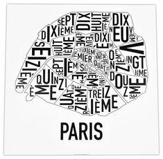 Paris Arrondisements Print by Ork $22
