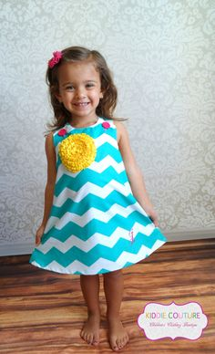 Girl's Teal Chevron Dress  Sizes Newborn to 4T by kiddiecouture22, $24.00