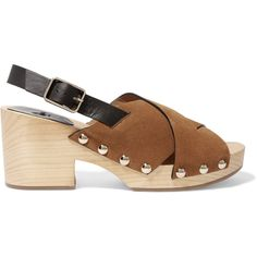 Castañer Zane studded leather and suede clogs (£78) ❤ liked on Polyvore featuring shoes, clogs, light brown, platform shoes, studded shoes, suede clog shoes, high heel clogs and strappy shoes