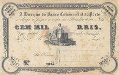 Nota de cem mil réis do Banco Comercial do Porto, c.1835-87. Dollar Sign, Vintage Type, Old Pictures, Typography Design, Script, Vintage World Maps, Pin Up, Ornament, Printables