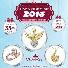 Wishing you a new year filled with new Hope, new Joy and new Beginnings  Shop at www.vorrafashion.com & Get Flat 35% discount on each purchase Coupon Code : NY35 #NewYear #Jewelry #Flat35PercentOff #ShoppingCarnival #Jewelry #Rings