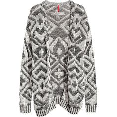 H&M Knitted cardigan ($38) ❤ liked on Polyvore featuring tops, cardigans, jackets, outerwear, sweaters, black, long black cardigan, long tops, h&m tops and jacquard top
