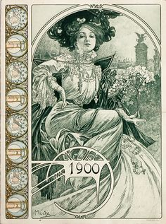 """Alphonse Mucha- Original Bosnian house booklet Cover for the """"Exposition universelle""""of 1900 