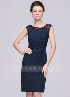 [US$ 125.49] Sheath/Column Scoop Neck Knee-Length Chiffon Mother of the Bride Dress With Ruffle Lace Beading Sequins (008056833)