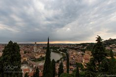 Verona rooftops - View from the San Pietro castle over the Ponte Pietra bridge towards the old town of Verona.