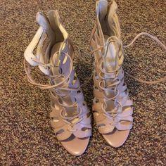 Nine West lace up shoes Nude color. Worn twice. Nine West Shoes