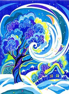 Агочка - Зима Canvas Artwork, Christmas Art, Art Painting, Winter Scene Paintings, Blue Art, Cottage Art, Art Inspiration Painting, Art Inspiration, Winter Art