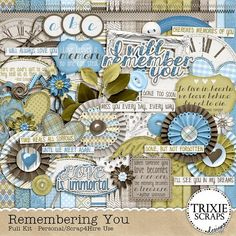 """Remembering You Digital Scrapbooking Full Kit Memorial Funeral - """"When someone you love becomes a memory, the memory becomes a treasure."""" Document your treasured memories with the """"Remembering You"""" collection by Trixie Scraps Designs. It is a soft, sweet and beautiful collection that is just perfect for special remembrance pages for all the people you have loved and lost."""