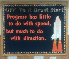 Bulletin board for a space themed classroom! by Nesta Mallory Gross Space Theme Classroom, Classroom Quotes, Science Classroom, Future Classroom, School Classroom, Classroom Organization, Classroom Ideas, Classroom Attendance, Superhero Classroom