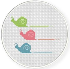Snail Race PDF Cross Stitch Pattern by DailyCrossStitch on Etsy