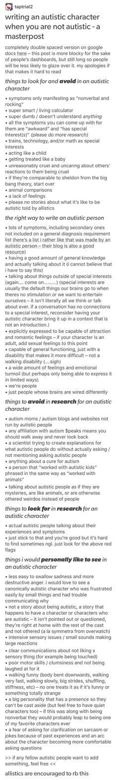 some autistic character stuff, just in case Writing Boards, Book Writing Tips, Writing Resources, Writing Help, Writing Skills, Writing Prompts, Writing Ideas, Writing Characters, Writing Inspiration