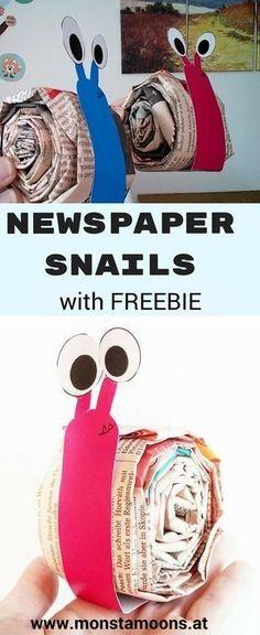 Schnecke aus Zeitungspapier, Basteln mit Zeitung, newspaper crafts, Basteln mit Kindern, snail craft #Snails
