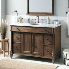 Two of these with a 19 empty area in the center - 48 Neeson Vanity for Rectangular Undermount Sink - Rustic Brown - Bathroom Vanities - Bathroom Rustic Bathroom Designs, Rustic Bathroom Vanities, Brown Bathroom, Rustic Bathrooms, Bathroom Furniture, Bathroom Interior, Bathroom Ideas, Modern Bathrooms, Budget Bathroom
