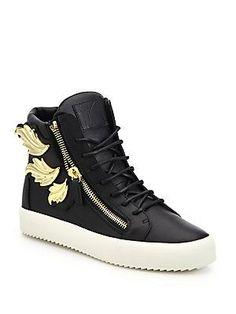 Giuseppe Zanotti Triple Wing Leather High-Top Sneakers - Black - Size