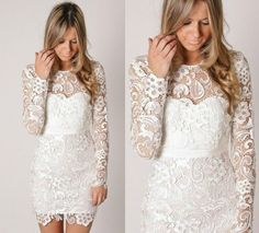 Find More Prom Dresses Information about Custom Made 2014 New Arrival Sparkly Boat Neck Long Sleeve White Lace Short Prom Dresses Homecoming Party Gown,High Quality gown hair,China gown party dress Suppliers, Cheap dresses maternity from Suzhou Babyonline Dress Store on Aliexpress.com