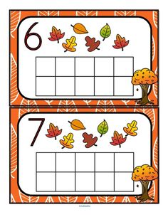 Fill the Fall leaves  themed 10-frames with manipulatives such as pom poms, counters or playdough. Recognize numbers and count sets 0-10.