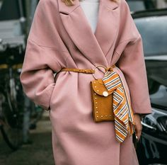 Autumn/Winter: Pink oversized coat belted with mustard suede cross body bag