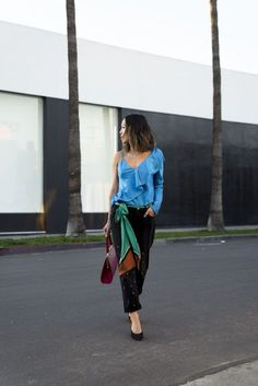 Silk Ruffle Blouse and Mules for Work