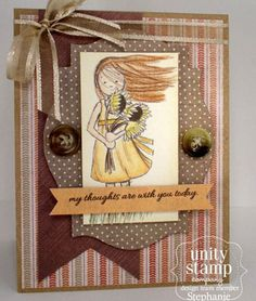 "This adorable stamp kit is from Unity Illustrator Phyllis Harris.  She is an artist for the popular HIGHLIGHTS magazine for children as well as stamp illustrator for Unity Stamp Company.  This kit includes 3 stamps.  Sunflower girl measures approximately 2.25"" x 4"".  ""Keep your face to the sunshine and you cannot see a shadow. -Helen Keller"" sentiment measures approximately 1.25"" x 2.25"".  ""my thoughts are with you today"" sentiment measures approximately .25"" x 3"".  She has SEVERAL releases…"