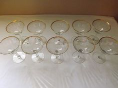 Crystal Champagne/Cocktail Glasses with Gold Trim - 10 Piece Set